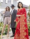 image of Georgette Function Wear Red Designer Saree With Thread Embroidery