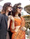 photo of Function Wear Orange Designer Georgette Thread Embroidered Saree