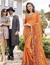 image of Function Wear Orange Designer Georgette Thread Embroidered Saree