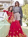 photo of Thread Embroidered Designer Georgette Function Wear Red Saree
