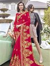 image of Thread Embroidered Designer Georgette Function Wear Red Saree