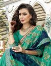 photo of Function Wear Cyan Designer Georgette Thread Embroidered Saree