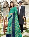 image of Function Wear Cyan Designer Georgette Thread Embroidered Saree