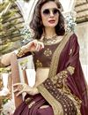 photo of Brown Function Wear Georgette Designer Saree With Thread Embroidery