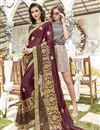 image of Brown Function Wear Georgette Designer Saree With Thread Embroidery