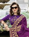 photo of Function Wear Georgette Saree In Purple With Thread Embroidery Work