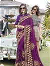 image of Function Wear Georgette Saree In Purple With Thread Embroidery Work
