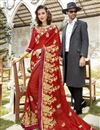image of Thread Embroidered Designer Red Function Wear Georgette Saree