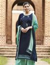 image of Festive Wear Designer Cotton Fabric Embroidered Palazzo Suit