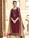 image of Maroon Designer Festive Wear Palazzo Dress With Embroidery