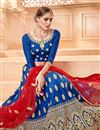 photo of Sangeet Function Wear Embroidered Designer Blue Art Silk Lehenga Choli