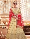 image of Designer Sangeet Function Wear Beige Embroidered Lehenga Choli In Art Silk