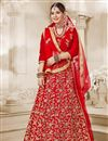 image of Embroidered Designer Sangeet Function Wear Velvet Lehenga Choli In Red