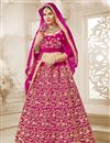 image of Designer Sangeet Function Wear Magenta Color Embroidered Lehenga Choli In Velvet