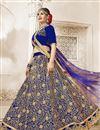 image of Sangeet Function Wear Embroidered Designer Blue Velvet Lehenga Choli