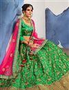 photo of Wedding Wear Designer Satin Silk Fabric Fancy Green Lehenga Choli With Embroidery Work