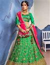 image of Wedding Wear Designer Satin Silk Fabric Fancy Green Lehenga Choli With Embroidery Work