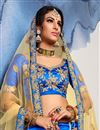 photo of Fancy Blue Wedding Wear Designer Satin Silk Fabric Lehnega With Embroidery Design