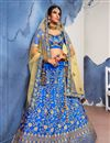 image of Satin Silk Fabric Wedding Wear Designer Embroidered 3 Piece Lehenga Choli In Fancy Blue
