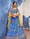 image of Satin Silk Fabric Wedding Wear Designer Embroidered 3 Piece Lehenga Choli In Fancy Blue