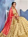 photo of Enigmatic Satin Silk Fabric Wedding Wear Designer Embroidered Fancy Beige Lehenga Choli