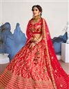 photo of Rivetingly Embroidered Satin Silk Fabric Fancy Red Wedding Lehenga Choli