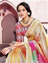 photo of Festive Wear Multi Color Digital Printed Saree In Linen Fabric