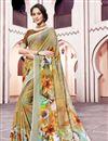 image of Festive Wear Multi Color Fancy Linen Fabric Digital Printed Saree