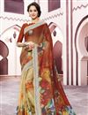 image of Digital Printed Fancy Linen Fabric Festive Wear Multi Color Saree
