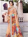 image of Festive Wear Multi Color Fancy Linen Fabric Digital Printed Saree