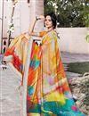 photo of Festive Wear Linen Fabric Digital Printed Saree In Multi Color