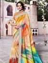 image of Festive Wear Linen Fabric Digital Printed Saree In Multi Color