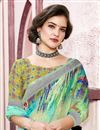 photo of Multi Color Festive Wear Linen Fabric Saree With Digital Print Work