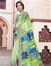 image of Digital Printed Fancy Multi Color Festive Wear Linen Fabric Saree