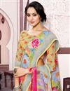 photo of Digital Printed Fancy Multi Color Festive Wear Linen Fabric Saree