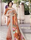 image of Festive Wear Linen Fabric Fancy Multi Color Digital Printed Saree
