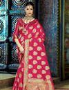 image of Festive Wear Fancy Dark Pink Weaving Work Saree
