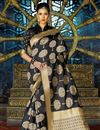 image of Festive Wear Fancy Weaving Work Saree In Black