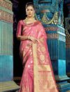 image of Pink Festive Wear Fancy Saree With Weaving Work
