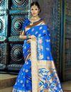 image of Festive Wear Fancy Weaving Work Saree In Blue