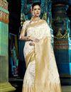 image of Festive Wear Fancy Off White Weaving Work Saree