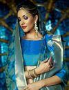 photo of Sky Blue Festive Wear Fancy Saree With Weaving Work