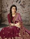 photo of Fancy Festive Wear Chiffon Fabric Designer Maroon Embroidered Saree
