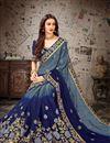 photo of Fancy Blue Festive Wear Chiffon Fabric Embroidered Designer Saree