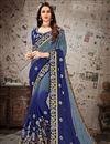 image of Fancy Blue Festive Wear Chiffon Fabric Embroidered Designer Saree