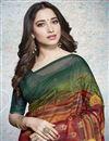 photo of Tamannaah Bhatia Maroon Linen Fabric Party Style Fancy Printed Saree