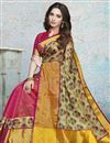 photo of Tamannaah Bhatia Festive Wear Linen Fabric Rani Color Fancy Printed Saree