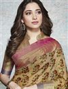 photo of Tamannaah Bhatia Party Wear Fancy Beige Printed Saree In Linen Fabric