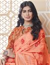 photo of Casual Party Style Fancy Georgette Fabric Printed Peach Saree
