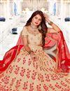 photo of Fancy Fabric Designer Bridal Lehenga With Embroidery Work On Cream
